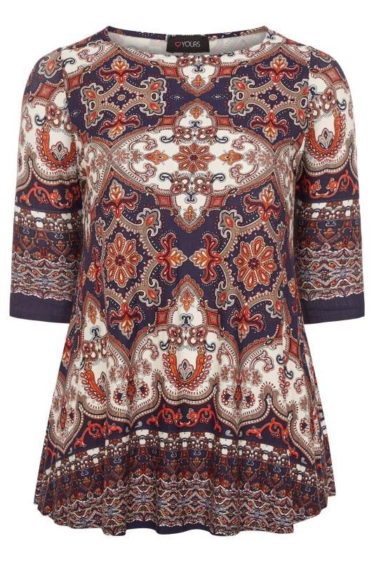 Plus Size Casual / Every Day Multi Printed Jersey Swing Top
