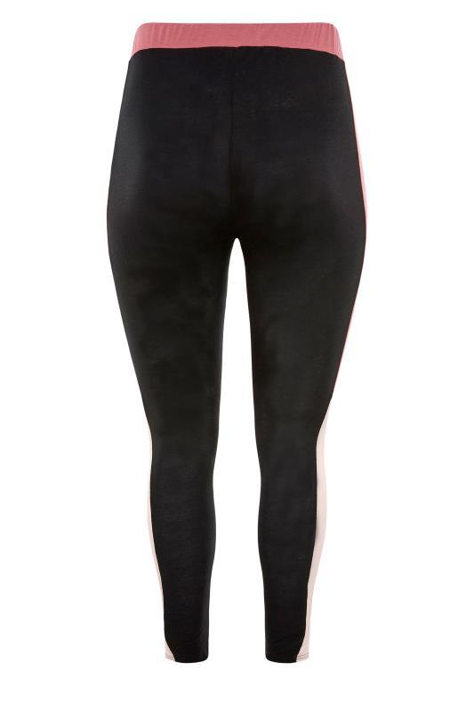 LIMITED COLLECTION Black & Pink Colour Block Leggings_BK.jpg