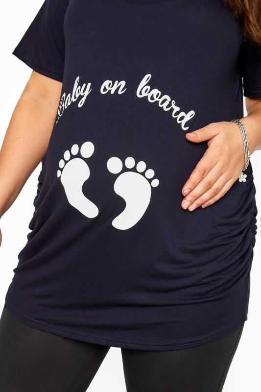 BUMP IT UP MATERNITY Navy Glittery 'Baby On Board' Top