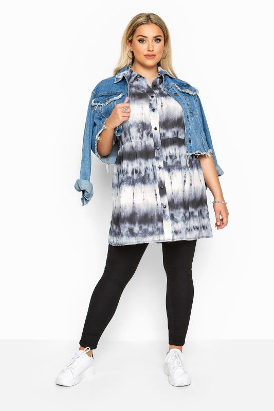 Plus Size Shirts Black & White Tie Dye Smock Shirt