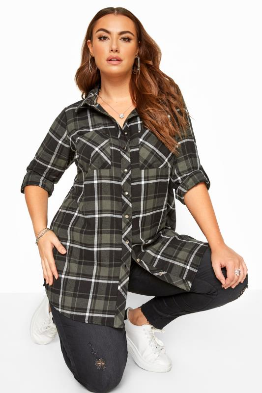 Plus-Größen Shirts Green Check Studded Boyfriend Shirt