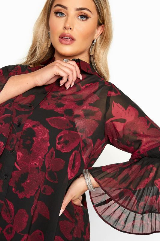 YOURS LONDON Black & Red Floral Pleat Back Shirt