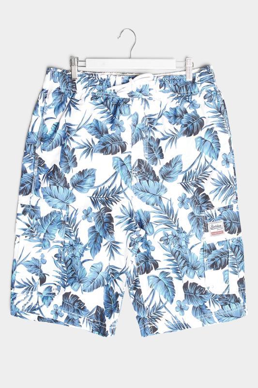 BadRhino White Hibiscus Cargo Swim Shorts