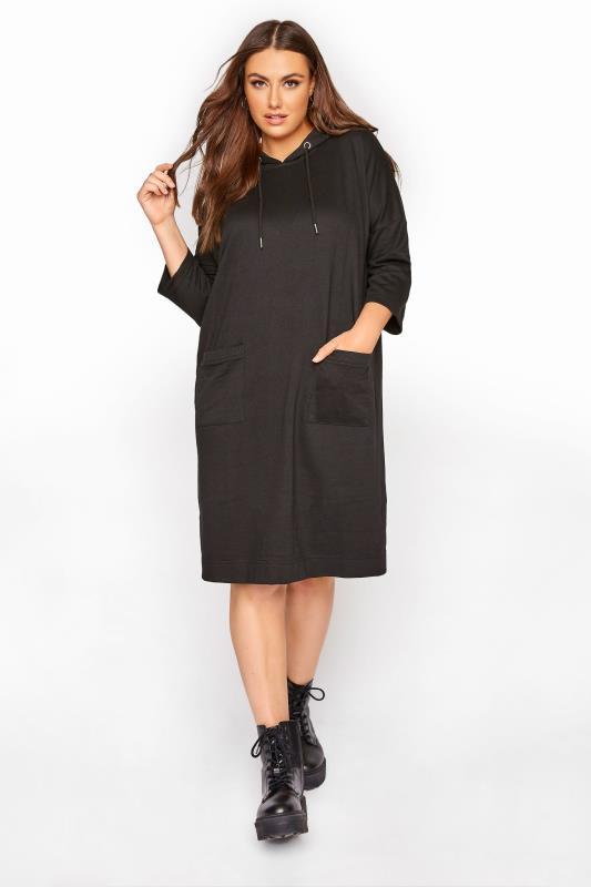 Plus Size  Black Longline Sweatshirt Dress