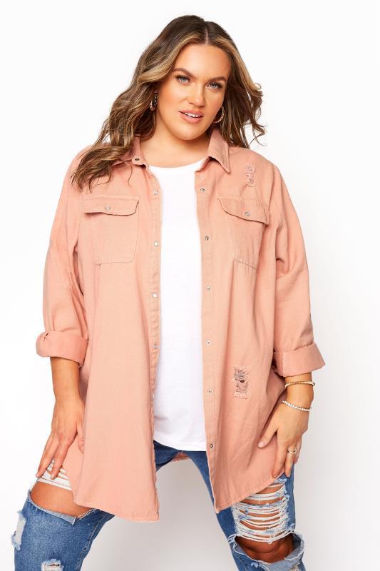 Grande Taille Pink Distressed Denim Shirt