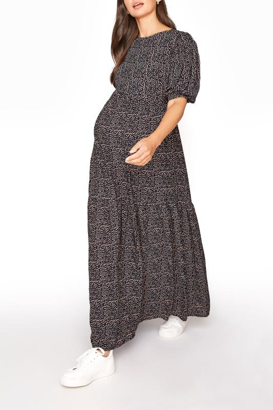 LTS Maternity Navy Speckled Smock Maxi Dress_B.jpg