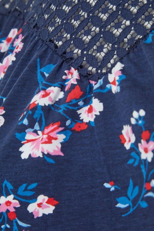 Navy Floral Lace Yoke Cold Shoulder Top_s.jpg