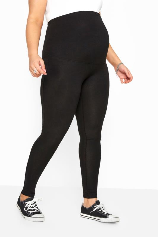 Plus Size Maternity Leggings BUMP IT UP MATERNITY Black Cotton Essential Leggings With Comfort Panel