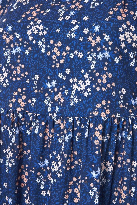 Blue Ditsy Print Square Neck Smock Midaxi Dress_S.jpg
