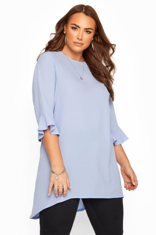Plus Size  YOURS LONDON Blue Flute Sleeve Tunic
