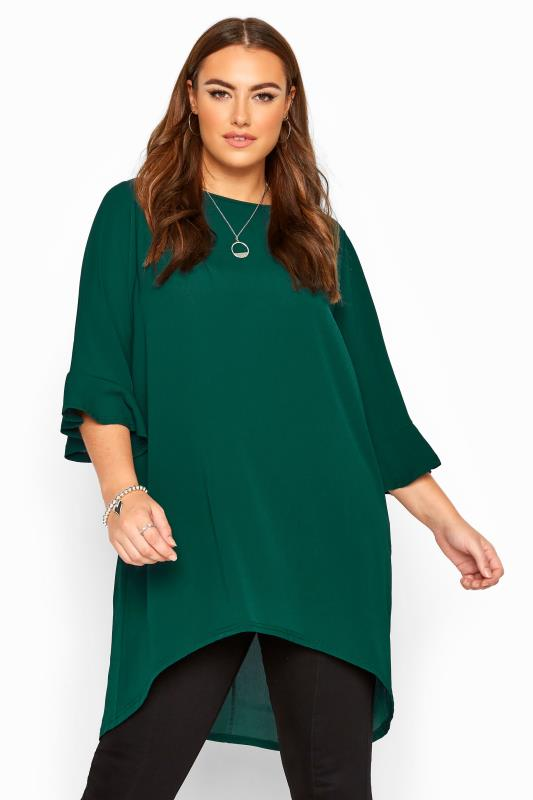 Plus Size Tunics YOURS LONDON Bottle Green Flute Sleeve Tunic