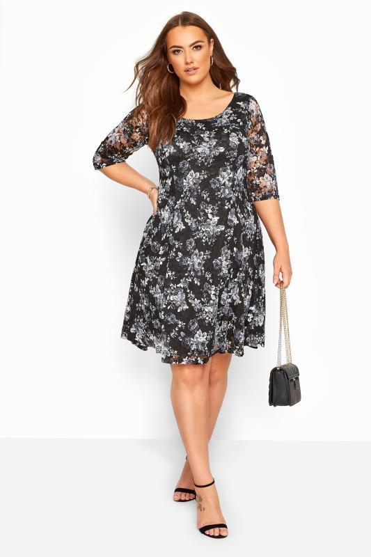 YOURS LONDON Black & Grey Floral Print Lace Skater Dress