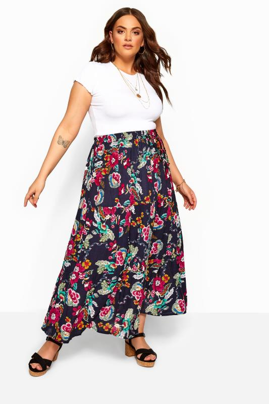 Plus Size Maxi Skirts Navy Floral Crinkle Tiered Maxi Skirt