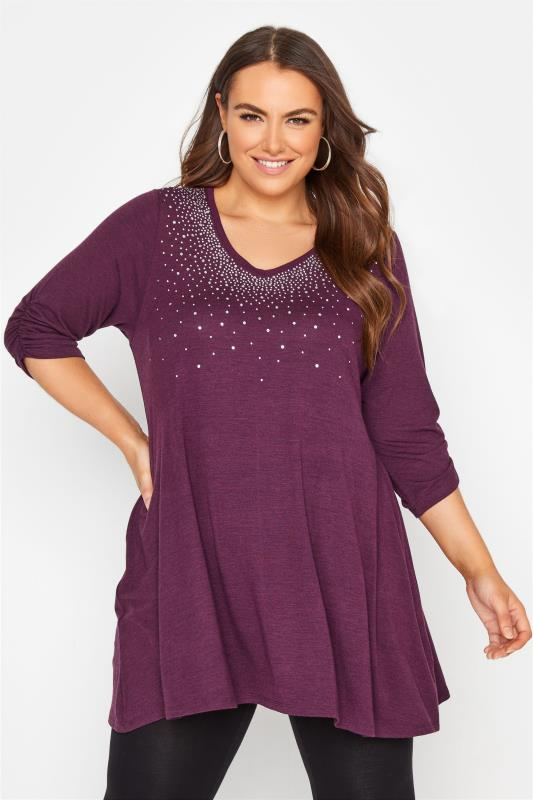 Plus Size  Purple Diamante Embellished Soft Touch Top