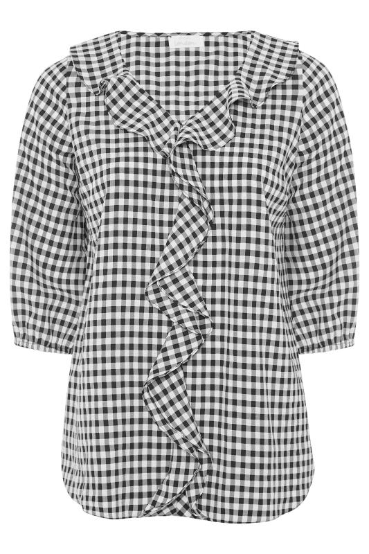 YOURS LONDON Black Gingham Frill Front Blouse_F.jpg