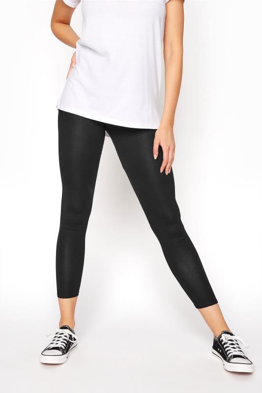 Black Cropped Jersey Leggings