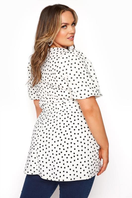 YOURS LONDON White Polka Dot Puff Sleeve Peplum Top_C.jpg