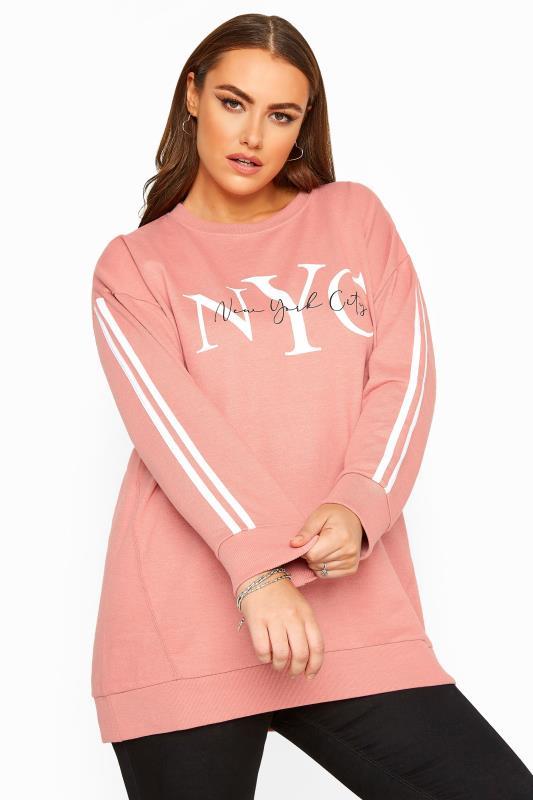Plus Size Sweatshirts Pink NYC Slogan Varsity Stripe Sweatshirt