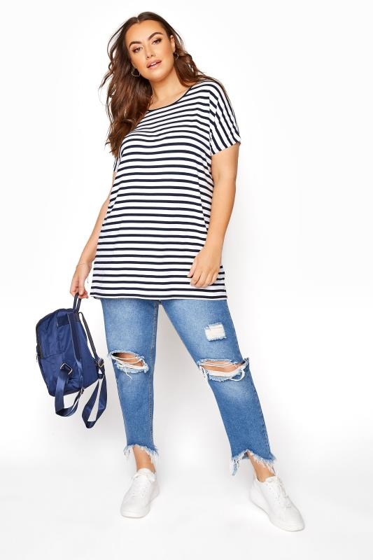 White and Navy Grown on Stripe Sleeve T-Shirt