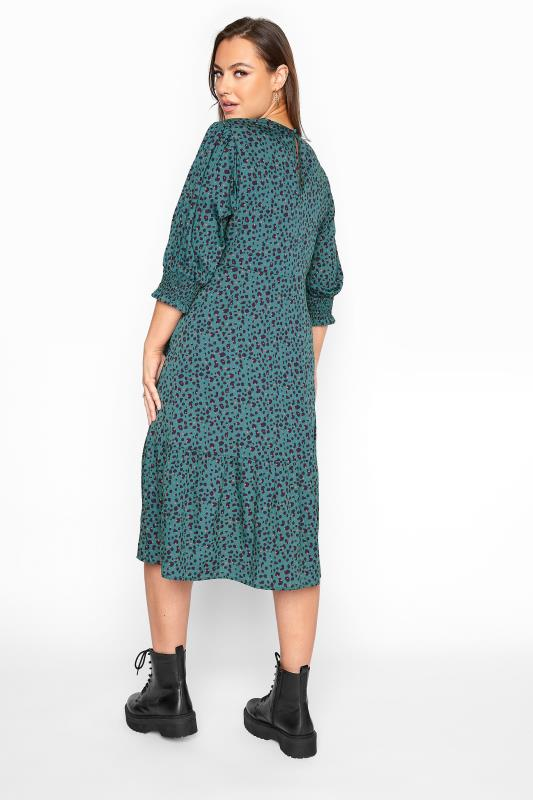 YOURS LONDON Teal Blue Animal Print Smock Midi Dress