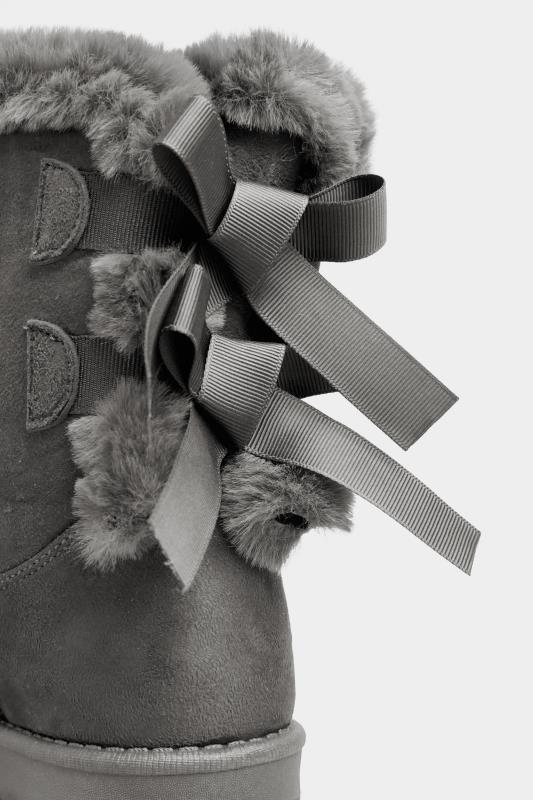 Grey Vegan Suede Bow Detail Boots In Extra Wide Fit