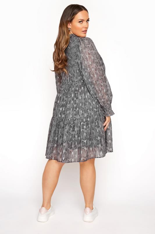 LIMITED COLLECTION Grey Foil Snake Tiered Shirt Dress_C.jpg