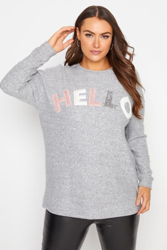 Plus Size  Grey Embellished 'Hello' Slogan Knitted Jumper