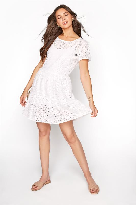 Tall  LTS White Broderie Anglaise Tiered Tunic