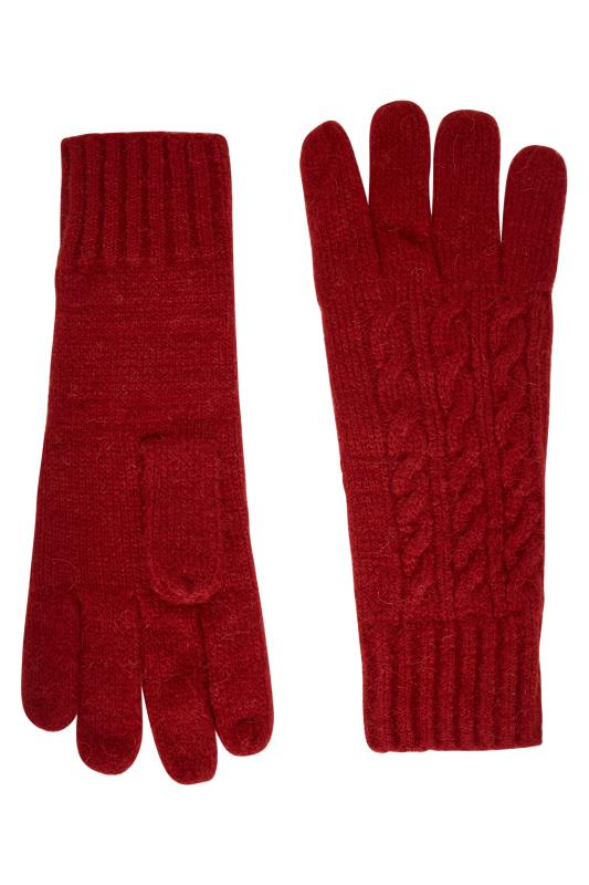 Tall  Red Cable Knit Gloves