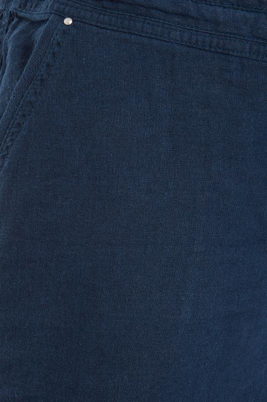 Navy Cropped Linen Mix Trousers_S.jpg