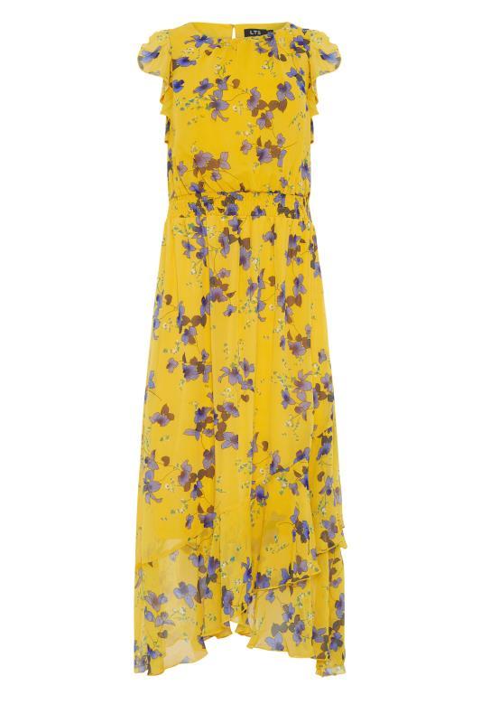 LTS Yellow Shirred Waist Chiffon Midi Dress_f.jpg
