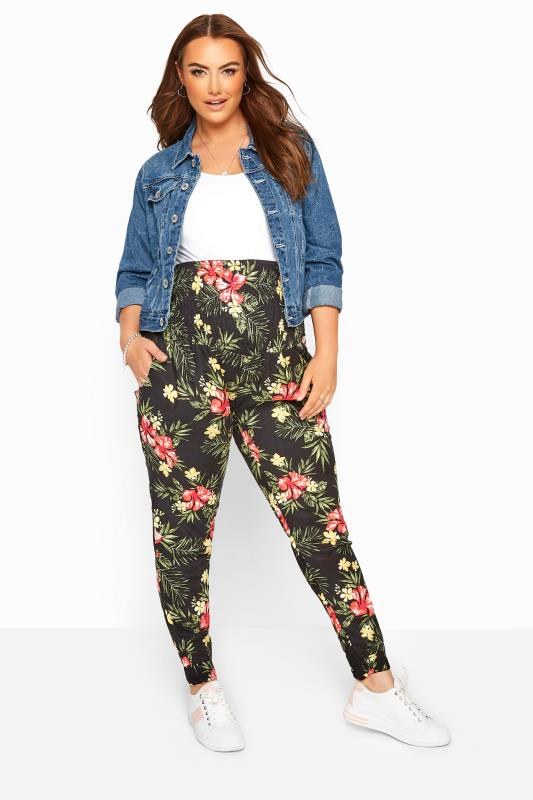 Plus Size Maternity Trousers BUMP IT UP MATERNITY Black Tropical Floral Harem Trousers