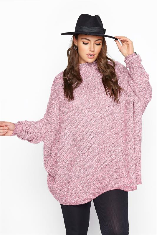 Plus Size  Pink Marl Oversized Knitted Jumper