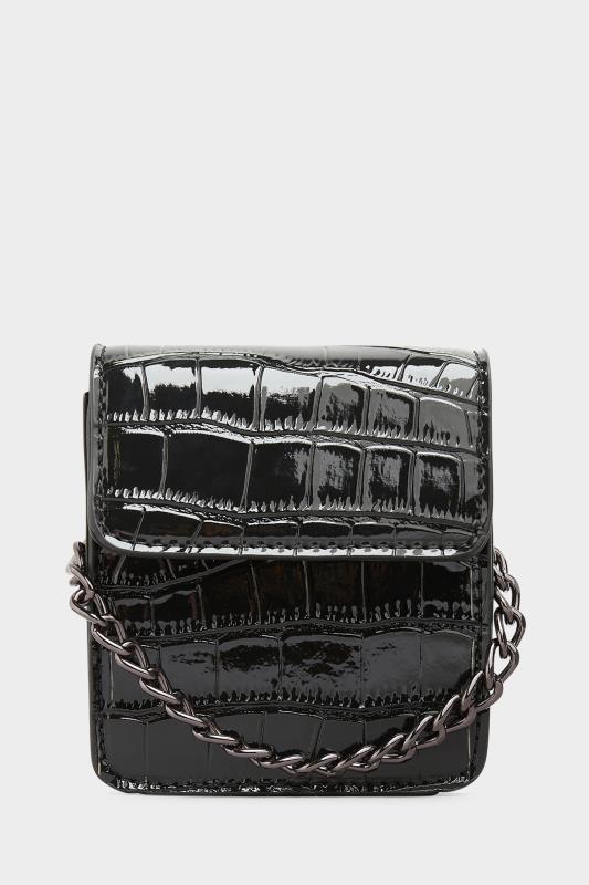 Black Croc Chain Mini Cross Body Bag
