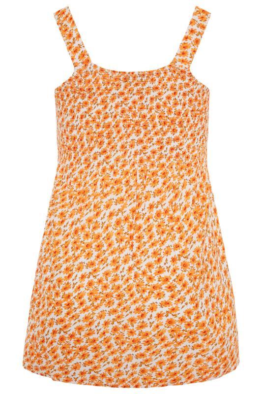 Orange Floral Shirred Smock Vest Top_BK.jpg