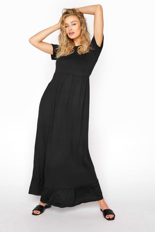 Tall  LTS Black Tiered Maxi Dress