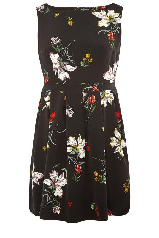 Black Floral Print Skater Dress_F.jpg