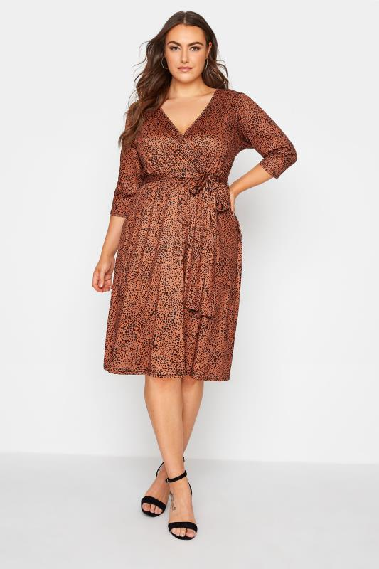 YOURS LONDON Brown Dalmatian Print Wrap Midi Dress_A.jpg