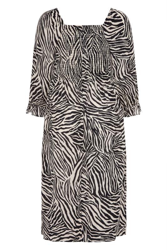 YOURS LONDON Black Zebra Print Shirred Front Midaxi Dress_BK.jpg