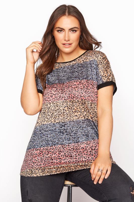 Pink Leopard Print Colour Block T-Shirt_A.jpg