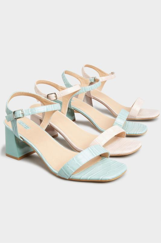 LIMITED COLLECTION Mint Green Block Heel Croc Sandals In Extra Wide Fit_E.jpg