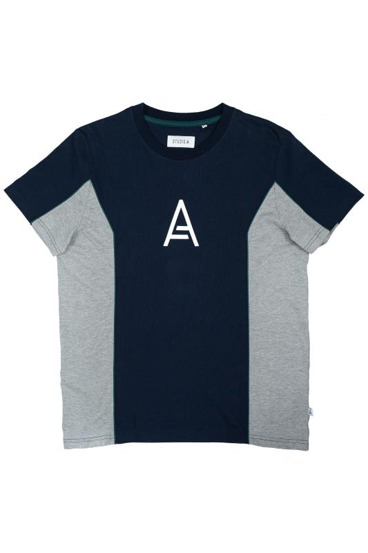 Plus Size  STUDIO A Navy Colour Block T-Shirt