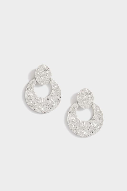 Silver Hammered Door Knocker Earrings