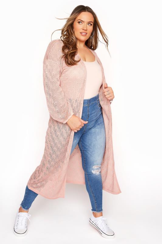 Plus Size  Pink Balloon Sleeve Cardigan