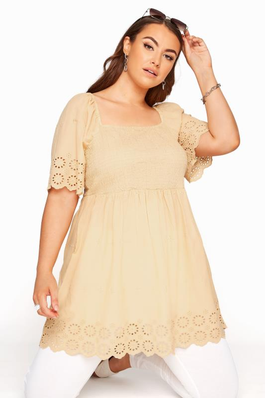 Plus Size  Beige Embroidered Square Neck Smock Top