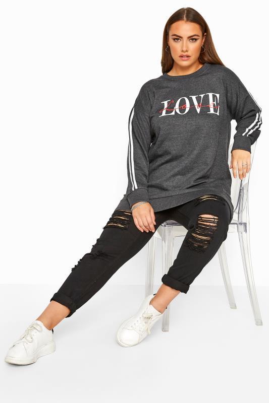 Charcoal Grey Love Slogan Varsity Stripe Sweatshirt