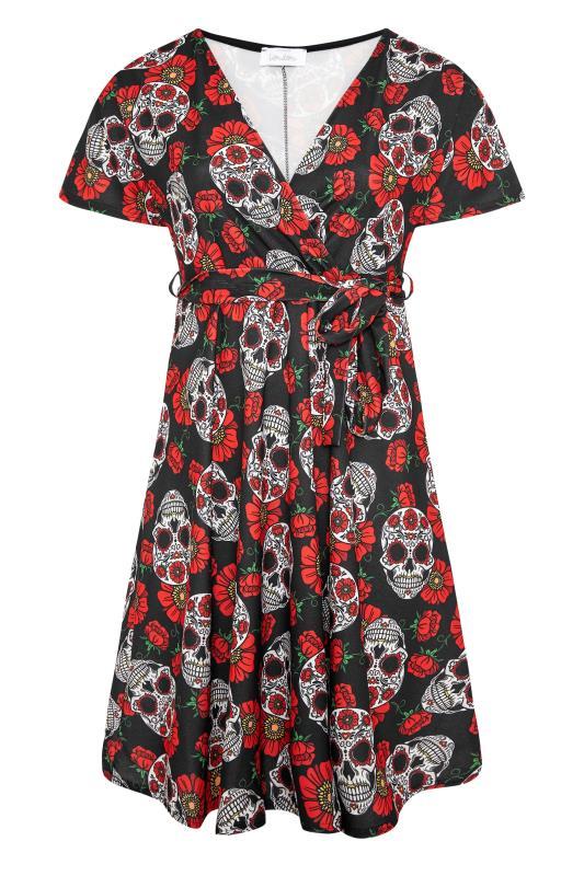 YOURS LONDON Black Mexican Skull Wrap Halloween Midi Dress_F.jpg