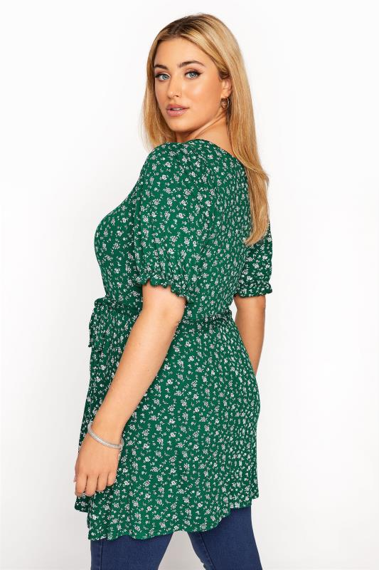 YOURS LONDON Green Ditsy Sweetheart Top_C.jpg
