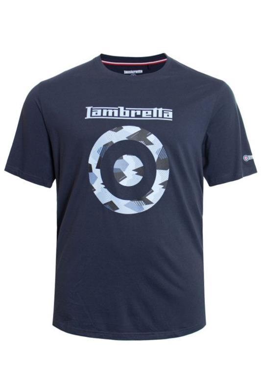 Plus Size  LAMBRETTA Navy Printed Cotton T-Shirt