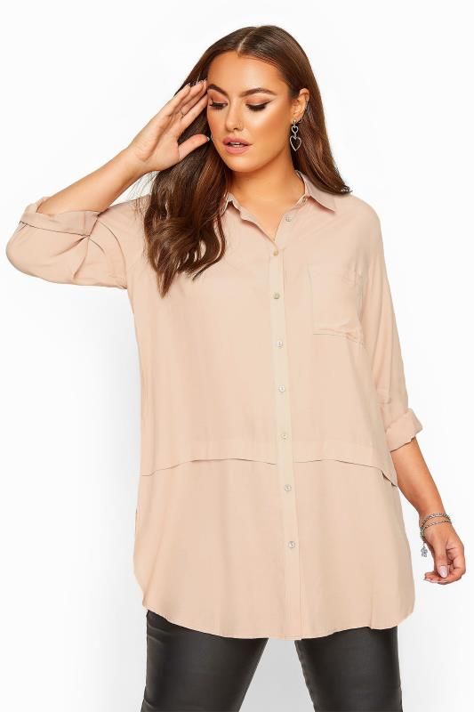Plus Size Casual / Every Day Pastel Pink Longline Shirt